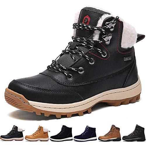 77c6f99f61e52 ... Femmes Neige Hiver Antidérapant Chaussures de Chaudes Mode Bottine  Hommes en Cuir Boots de Confort Trekking Alpinisme Bottes de Randonnée  (Noir, 37 EU)