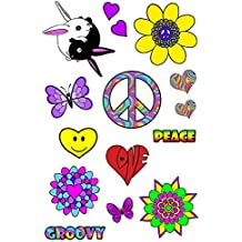 Hippy 60's 70's Flower Power Fancy Dress Festival Party Temporary Tattoos ,Peace,Hearts, Groovy Austin Powers Costume/Outfit Accessories