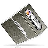 Yosemy Caja de Cigarrillo con Mechero Cigarette Case de Aluminio USB Recargable...