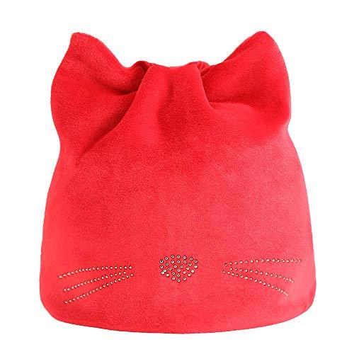 Fuibo Baby Mütze, Junge Mädchen Herbst und Winter Beanie Hut russische Caps warme Katze Hüte Ohrenschützer Hut | Baby Mütze Beanie Keep Warm Hut Strickmützen (Wine)
