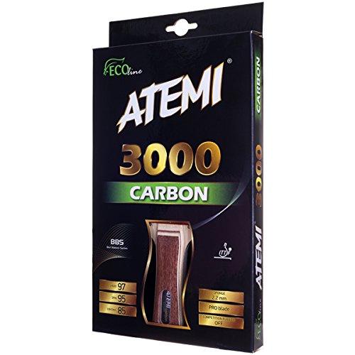Atemi Pro Tischtennisschläger Carbon 3000 - Überlegene Kontrolle und Kraft - Aus natürlichem, Nicht-gefärbtem exotischen Holz - Ping Pong Schläger - ITTF zugelassen - für Spieler Aller Level (Konkav)