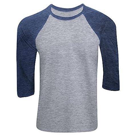 Canvas Mens 3/4 Sleeve Baseball T-Shirt (XS) (Grey/Navy
