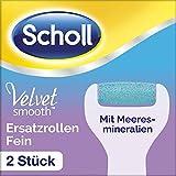 Scholl Velvet Smooth Ersatzrollen, Pedi Nachfüller, Rolle elektrischer Hornhautentferner, Pediküre, Fußpflege, Fein mit Meeresmineralien, 1er Pack (1 x 2 Rollen)