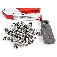 Herramienta de compresión Conector de Ajuste Coaxial Crimper Cable Coax Kit F RCA RG58
