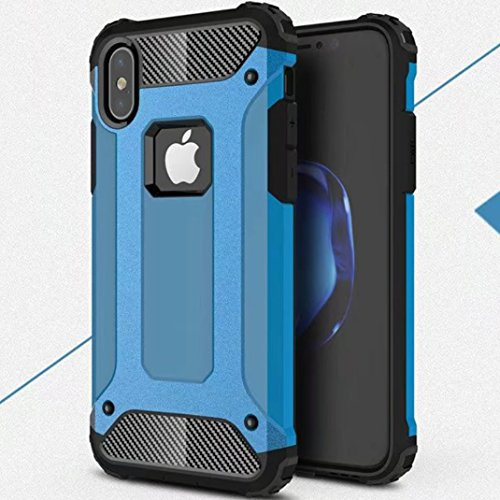 iPhone X Shell, Super Cool Shield UltraSlim Premium Dual Layer Hybrid Shockproof Armour Custodia, TAITOU New Awesome Outdoor Sport Anti Scratch Armor Protection Phone Cover For Apple iPhone X Blue BBlue