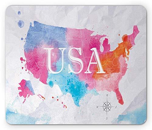 USA-Karten-Mausunterlage, Aquarell-Art-amerikanische Karte mit Malerpinsel-Trübton bewirkt Geografie-Grafik, rutschfestes Gummimousepad des Standardgrößen-Rechtecks, Mehrfarben