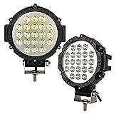 2Pcs 63W Lumière de travail à LED, rondes Feuilles d'inspection extérieure Imperméable IP68 Spot Beam SUV Hors route Phare à bateaux Lumières de locomotive agricole Lumières(Color : Black)