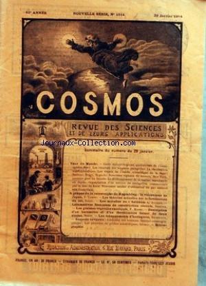 COSMOS [No 1514] du 29/01/1914 - TOUR DU MONDE - A PROPOS DE LA CATASTROPHE DE KAGOSHIMA - LE VOLCANISME AU JAPON - LES THEORIES ACTUELLES SUR LA FERTILISATION DU SOL - LES MORELLES OU SOLANUM - LOCOMOTIVES FRANCAISES DE CONSTRUCTION RECENTE - LES GRAISSES VEGETALES EXOTIQUES - DESCRIPTION D'UN BAROMETRE ET D'UN THERMOMETRE DATANT DE 2 SIECLES - LES ECHAPPEMENTS D'HORLOGERIE