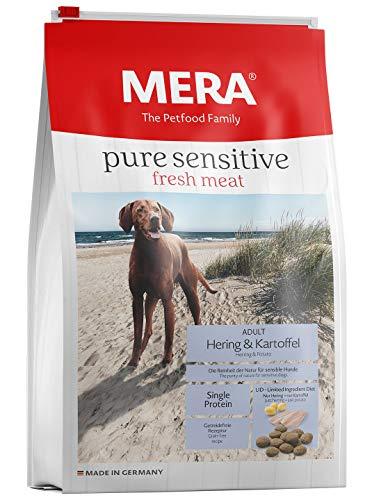 MERA pure sensitive fresh meat Adult Hering und Kartoffel Hundefutter - Trockenfutter für Hunde mit einer Rezeptur ohne Getreide und 25{756def18fae1c2f6cc14bc82d9147e667a15a78dcffaafe20732a806a79b0e5f} Frischfleisch