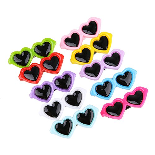 Chansted 10 pz/Set Pet Dog Bows Hair Clip Lovely Heart Occhiali da Sole a forcina Pet Dog