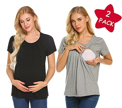 Unibelle Damen Umstandsmode Top Stillshirt Schwanger T-Shirt Umstandsshirt Umstandstop Lagendesign Wickeln-Schicht Navy Blau L, A-2 Pack-schwarz+grau