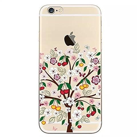Sunroyal® Coque iPhone 7 (4.7 pouces) 0.5MM Ultra-Fine Leger Housse Etui Série Fleur TPU Gel Silicone Souple Case Cover Premium Transparent Vitalité Vert Cas Sac Couvrir Coverture pour Apple iPhone 7 4.7