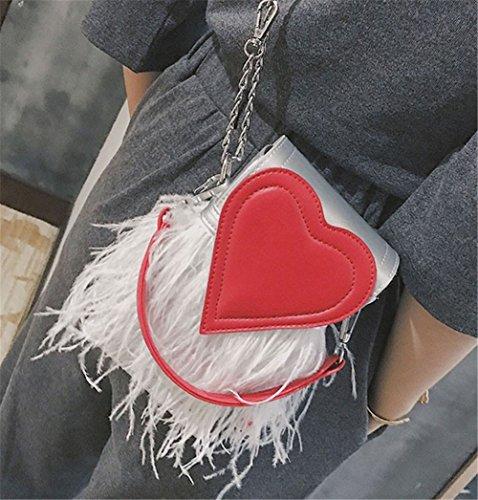 Rrock Frauen Handtasche Schultertasche Messenger Bag Quaste Tasche Mode Einfache Persönlichkeit Handytasche,Silver