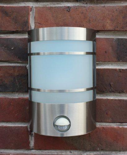 Edelstahl Wand-Außenleuchte Außenlampe Wandlampe Wandleuchte Hoflampe Hofleuchte Gartenlampe Gartenleuchte Eingangsbeleuchtung mit IF Infrarot Bewegungsmelder , Echtglas und LED Energiesparlampe 7 Watt