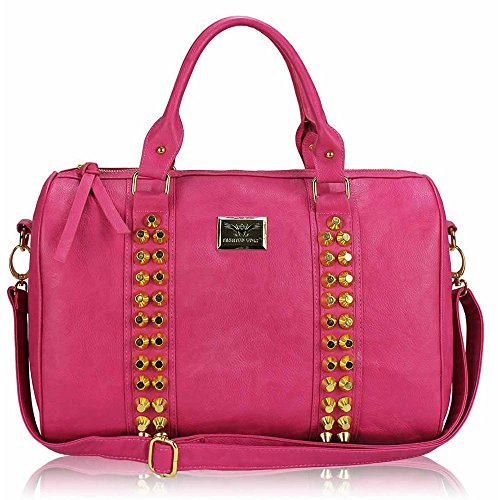 Trendstar Damen Entwerfer Schnappen Lächeln Kunstleder Promi Stil Stilvolle Tote Handtaschen C - Rosa