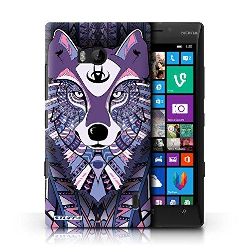 Kobalt® Imprimé Etui / Coque pour Nokia Lumia 930 / Hibou-Mono conception / Série Motif Animaux Aztec Loup-Pourpre