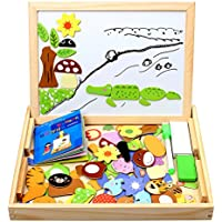StillCool 100 piezas Puzzles de Madera Magnético,Dibujo de animal colorido con Placa,Rompecabezas Pizarra con Caja Para Niños desde 3 Años,juguete educativo para regalo