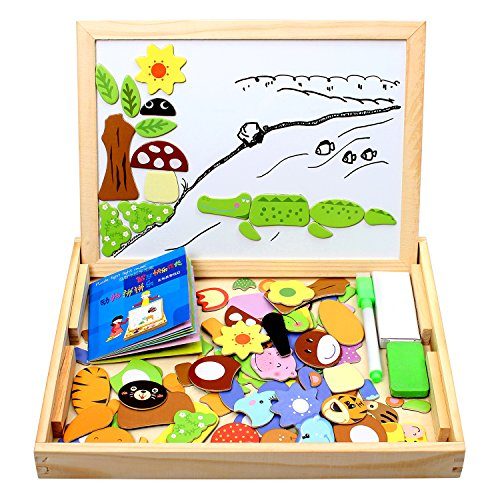 StillCool 100 Pieces Wooden Magnetic Puzzles, Colorful Animal Drawing with Plate, Blackboard Jigsaw with Box for Kids From 3 Years, Educational Toy for Gift