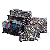 Juego de organizador de equipaje Weekender 6PCS Cubos de embalaje impermeables Valor de conjunto para maletas de viaje Bolsas de compresión Bolsa de equipaje Organizador Organizador Maleta (Color: Neg