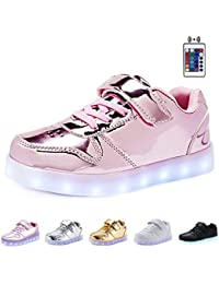 KEALUX Shiny Night USB Charging 7 Colors Lace Up Light Up LED Shoes Low Top Sport Sneaker With Remote Control For Kids Boys and Girls
