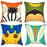 Gspirit 4 Pack Bambini Carina Cartone Animato Animale Cotone Biancheria Decorativo Gettare Cuscino Caso Federa per Cuscino 45x45 cm