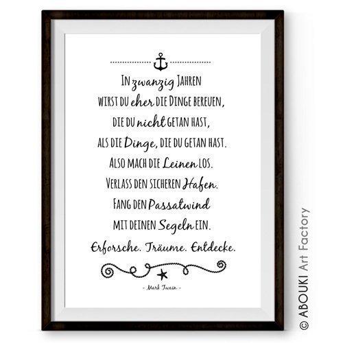 ABOUKI hochwertiger Kunstdruck - ungerahmt - mit Mark Twain Zitat (Deutsch oder Englisch), Poster Fine-Art-Print, Geschenk, Geschenkidee, Druck, Illustration, Bild mit Spruch, Statement, Typografie, Typo, Wandbild, Plakat, Zitate & Sprüche, Wanddekoration