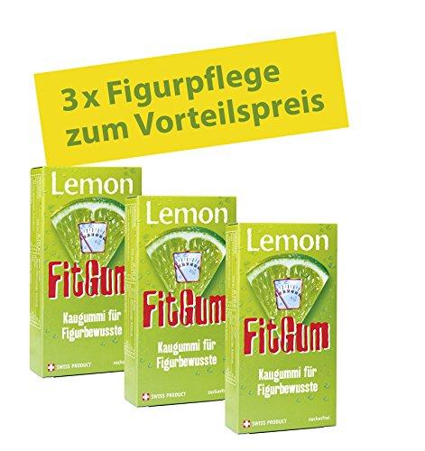 BADERs Lemon FitGum aus der Apotheke. Kaugummi für Figurbewusste mit L-Carnitin. Ideal zur Diätbegleitung. Sparpackung 3 x 16 Stück -