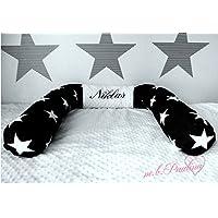 Sterne Bettschlange bis 2m schwarz mit Name Bestickung