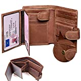 Leather Wallet Mens,Genuine Leather Wallet,Slim Tri-Fold RFID Blocking Men's Wallets,Corspake Wallet with Gift