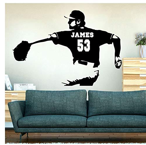Mond-baseball-jersey (yangyueyue Wandaufkleber PVC Große benutzerdefinierte Name Baseball Pitcher Nummer Wall Decal Boy Zimmer Spielzimmer personalisierte Name Jersey Nummer Baseball Spieler Aufkleber 80 * 56cm)