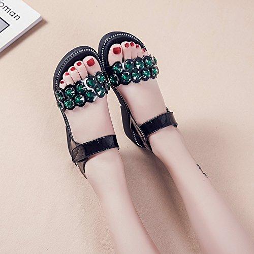 Lgk & FA dété Sandales pour femme avec épais Soled Sandales dété Chaussures de loisirs Diamant Student Muffin Chaussures green