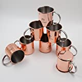 Original Design Moscow Mule Kupfer-Becher, 8er-Set | Cocktail-Krug mit 450ml Füllmenge | Ideal für eiskalte Gin- und Vodka-Longdrinks