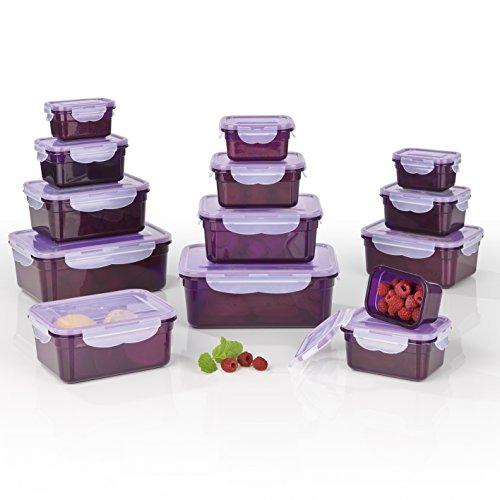 Recipientes herméticos Gourmet Maxx, adecuados para microondas, congelador y lavavajillas, Morado, 25 x 20 x 10 cm
