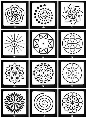 Lirener 12 Stück Bullet Journal Grafiken Schablonen Mandala-Muster, Kunststoff Vorlagen DIY Malerei Zeichenschablonen für Planer/Notebook/Tagebuch/Scrapbook und Craft Projekte, 12,5x15cm
