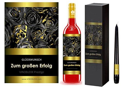 ZUM GROSSEN ERFOLG. 1er Geschenkset KLASSIK Perlwein (LADYLIKE spezielles Damengetränk). Ein Geschenk mit Stil & Prestige in Golddruck das jeden begeistert. Hochwertiger Qualitätswein. Verschiedene Etiketten-Designs, aktuell: Rosen