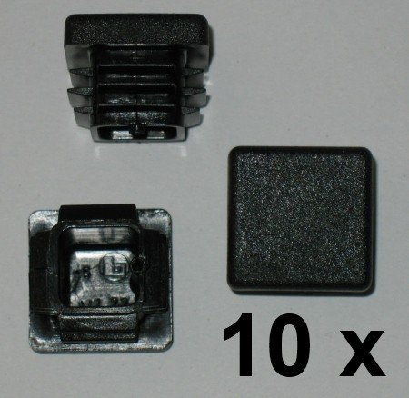 10 x Bouchon à lamelles carré rohrstopfen 22 x 22 mm (extérieur) Bouchon Noir