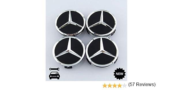 Coprimozzo per Mercedes-Benz AMG copricerchi 4 Pezzi Nero Opaco coprimozzo a Stella 75 mm