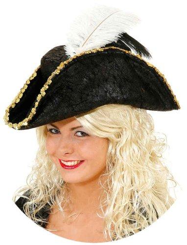 Hut: Piratenhut, Dreispitz, schwarz, mit Feder und Goldborte
