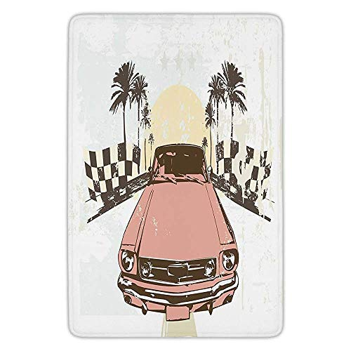 BagsPillow Bathroom Bath Rug Kitchen Floor Mat Carpet,Grunge,Old Fashioned Car Auto Sport Checkers Palms Sun Retro Road Racing Speed,Coral Mint Green Yellow,Flannel Microfiber Non-Slip Soft Absorbent Palm Double Old Fashioned
