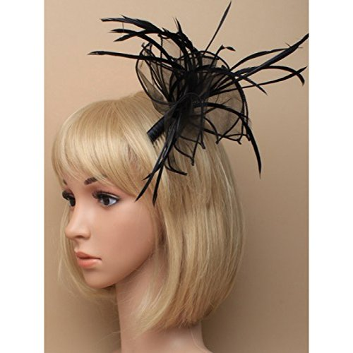 Black Fascinator on Headband/ Clip-in for Weddings, Races and Occasions-8319
