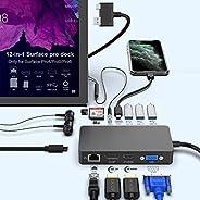 Surface Pro Dock for Surface Pro 4/Pro 5/Pro 6 USB Hub Docking Station with Gigabit Ethernet, 4K HDMI VGA DP D