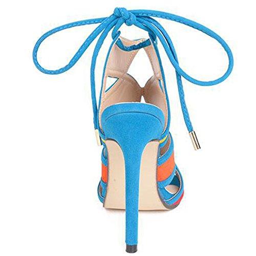 Oasap Women's Peep Toe Stiletto Heels Color Block Sandals blue