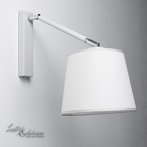 Wandleuchte weiß Bauhaus 1xE27 bis 60W Wandlampe mit Stoff Schirm Leselampe für Schlafzimmer...