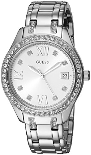 GUESS Women's U0848L1 Sporty Silver-Tone Watch with White Dial , Crystal-Accented Bezel and Stainless Steel Pilot Buckle