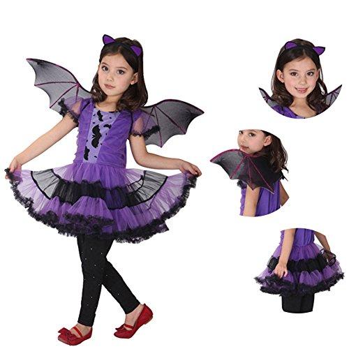 Imagen de freebily disfraz vestido de murciélago princesa para niña traje carnaval actuación fiesta niña morado 7 8 años