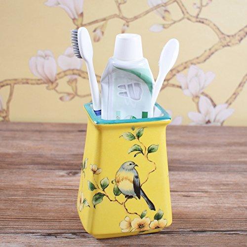 HJKY bathroom accessories set Amerikanische Keramik Badewanne 5 Stück Bad Eitelkeit setzt WC mit Bluetooth spülen Tassentablett Racks, Zahnbürste zugeben, Yellow Bird Nest (Shell Bad Setzt)