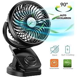 COMLIFE Ventilateur De Batterie à Pile,Ventilateur USB d'Oscillation Avec 4400mAH Batterie Rechargeable,Mini Ventilateur Portatif