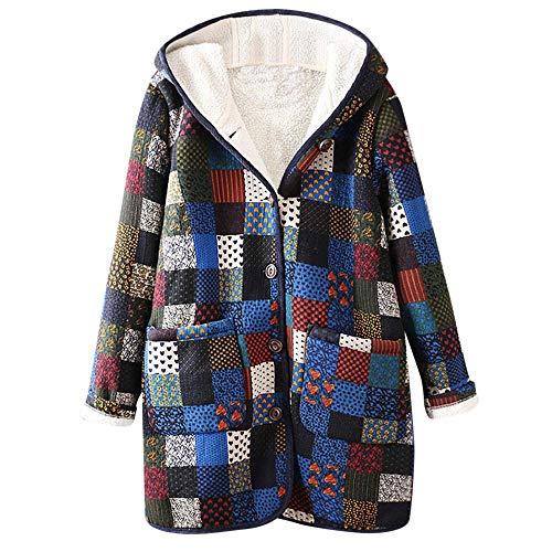 Luckycat Warme Damen Outwear Blumendruck Mit Kapuze Taschen Vintage Übergröße Mantel Jacken Mäntel Sweatjacke Winterjacke Fleecejacke Steppjacke