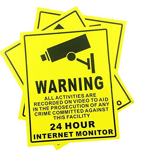 10 PCS CCTV Videoüberwachung Aufkleber, Selbstklebend Schilder Achtung Premises geschützt unter 24 Stunde Internet Monitor Sicherheit Schild - Sicherheit, Kamera - 250 x 200 mm (Sicherheits-monitor-kamera)