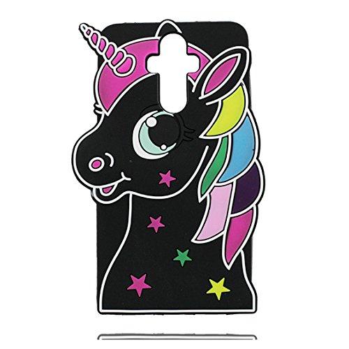 Galleria fotografica Huawei Mate 9 Custodia, 3D Cute Cartoon unicorno unicorn Morbido gel di gomma siliconica Case protettive in TPU per ragazze antiurto Copertura per Huawei Mate 9 (Nero)
